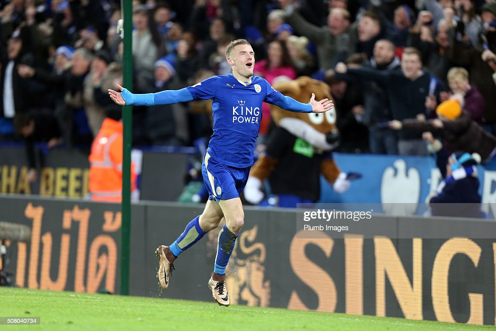 Jamie Vardy of Leicester City celebrates after scoring to make it 2-0 during the Barclays Premier League match between Leicester City and Liverpool at the King Power Stadium on February 02 , 2016 in Leicester, United Kingdom.