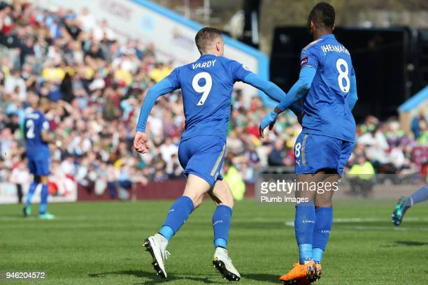 Jamie Vardy of Leicester City celebrates after scoring to make it 21 during the Premier League match between Burnley and Leicester City at Turf Moor...