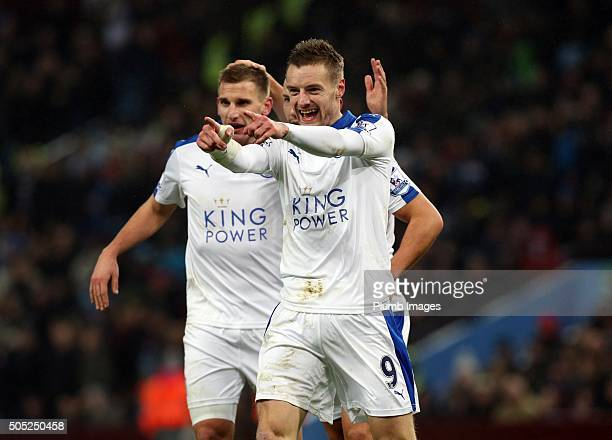 Jamie Vardy of Leicester City celebrates after Shinji Okazaki of Leicester City scores to make it 01 during the Premier League match between Aston...