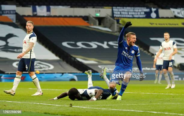 Jamie Vardy of Leicester City celebrates after their sides second goal, an own goal scored by Toby Alderweireld of Tottenham Hotspur during the...