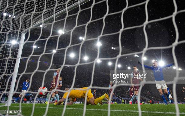 Jamie Vardy of Leicester City celebrates as goalkeeper Pepe Reina fails to stop a shot and second goal from Harvey Barnes during the Premier League...