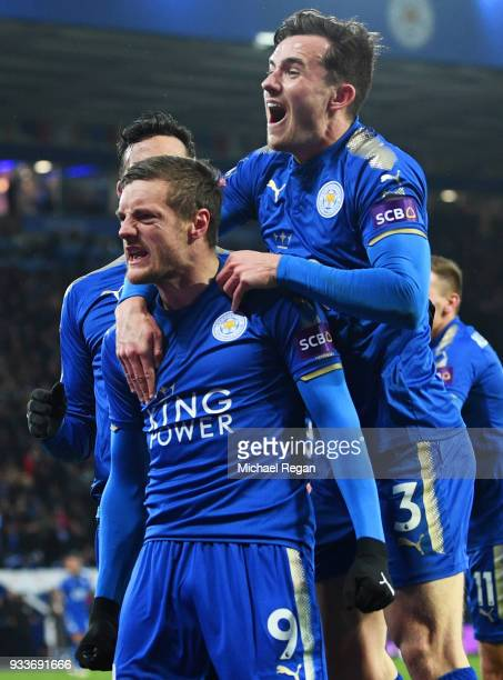 Jamie Vardy of Leicester City celebrates as he scores their first goal with Ben Chilwell during The Emirates FA Cup Quarter Final match between...