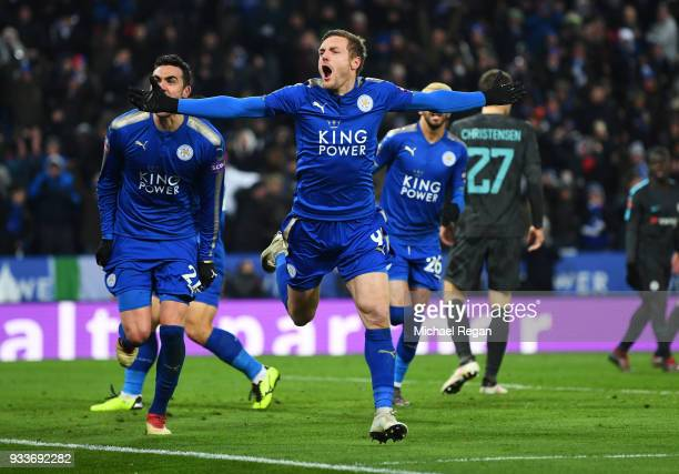 Jamie Vardy of Leicester City celebrates as he scores their first goal during The Emirates FA Cup Quarter Final match between Leicester City and...