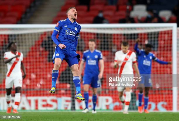Jamie Vardy of Leicester City celebrates following his team's victory in the Semi Final of the Emirates FA Cup between Leicester City and Southampton...