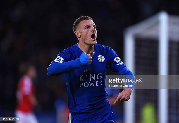 Jamie Vardy of Leicester City celebrates his record breaking goal during the Barclays Premier League match between Leicester City and Manchester...