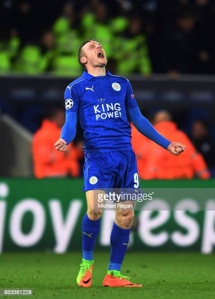 Jamie Vardy of Leicester City celebrates his team's 3-2 agg victory following the final whistle during the UEFA Champions League Round of 16, second...