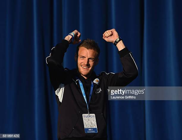 Jamie Vardy of Leicester City celebrates on stage during the Leicester City Barclays Premier League Winners Bus Parade on May 16 2016 in Leicester...