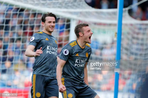 Jamie Vardy of Leicester City Celebrates scoring a goal during the Premier League match between Huddersfield Town and Leicester City at John Smith's...