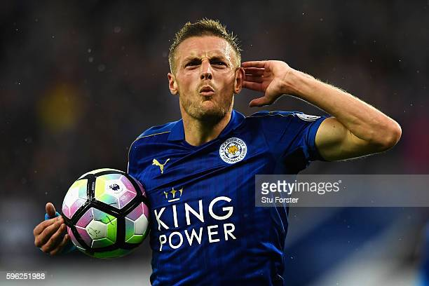 Jamie Vardy of Leicester City celebrates scoring his sides first goal during the Premier League match between Leicester City and Swansea City at The...