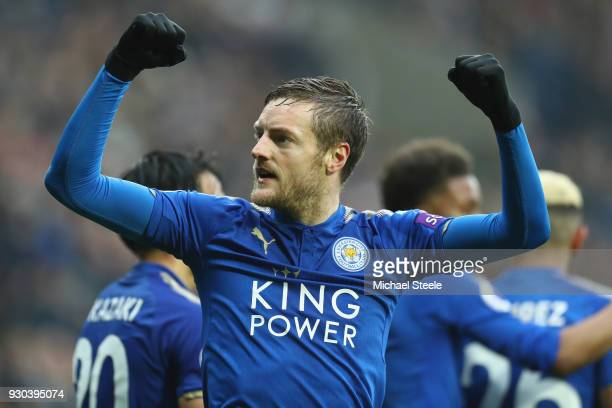 Jamie Vardy of Leicester City celebrates scoring his sides opening goal during the Premier League match between West Bromwich Albion and Leicester...