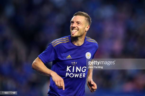 Jamie Vardy of Leicester City celebrates scoring his sides second goal during the PreSeason Friendly match between Leicester City and Atalanta at The...