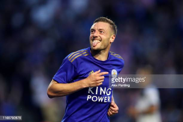 Jamie Vardy of Leicester City celebrates scoring his sides second goal during the Pre-Season Friendly match between Leicester City and Atalanta at...