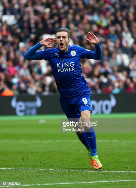Jamie Vardy of Leicester City celebrates scoring his sides third goal during the Premier League match between West Ham United and Leicester City at...