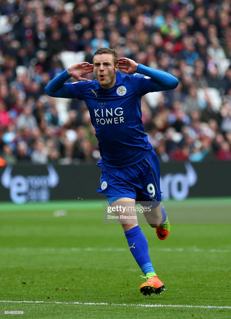 Jamie Vardy of Leicester City celebrates scoring his sides third goal during the Premier League match between West Ham United and Leicester City at London Stadium on March 18, 2017 in Stratford, England.