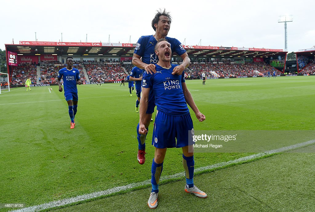 Jamie Vardy of Leicester City celebrates scoring his team's first goal with his team mate Shinji Okazaki during the Barclays Premier League match between A.F.C. Bournemouth and Leicester City at Vitality Stadium on August 29, 2015 in Bournemouth, England.