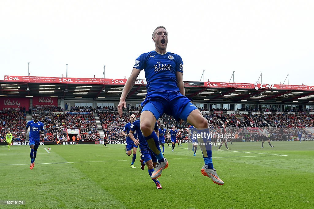 Jamie Vardy of Leicester City celebrates scoring his team's first goal during the Barclays Premier League match between A.F.C. Bournemouth and Leicester City at Vitality Stadium on August 29, 2015 in Bournemouth, England.