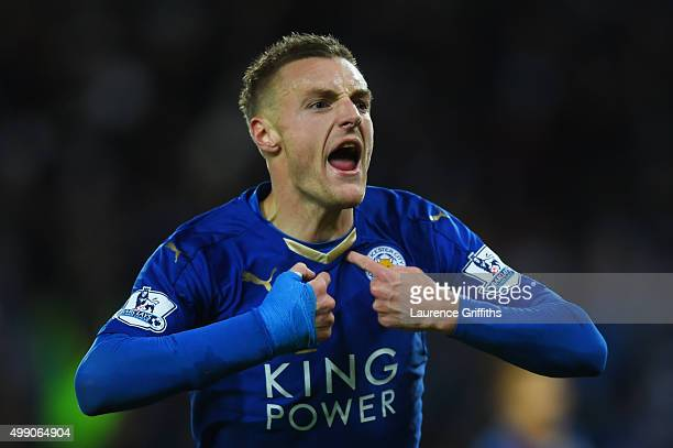 Jamie Vardy of Leicester City celebrates scoring his team's first goal during the Barclays Premier League match between Leicester City and Manchester...
