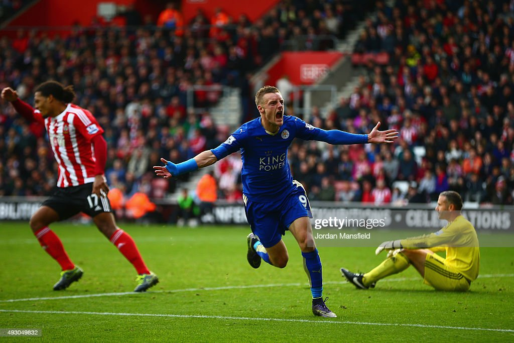 Jamie Vardy of Leicester City celebrates scoring his team's second goal during the Barclays Premier League match between Southampton and Leicester City at St Mary's Stadium on October 17, 2015 in Southampton, England.