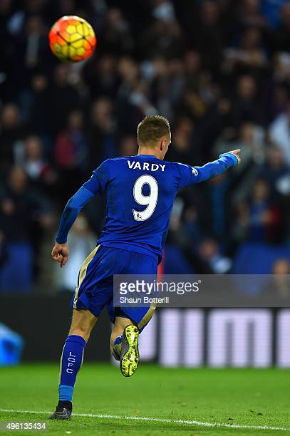 Jamie Vardy of Leicester City celebrates scoring his team's second goal during the Barclays Premier League match between Leicester City and Watford...