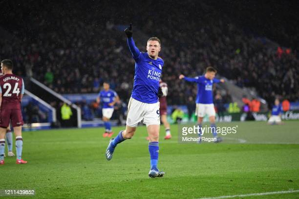 Jamie Vardy of Leicester City celebrates scoring his teams third goal of the game and his second during the Premier League match between Leicester...