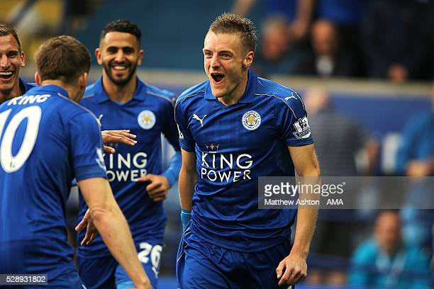 Jamie Vardy of Leicester City celebrates scoring the first goal to make the score 10 during the Barclays Premier League match between Leicester City...