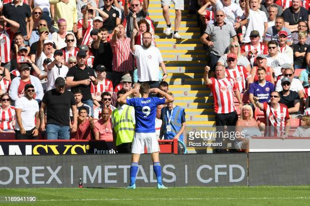 Jamie Vardy of Leicester City celebrates scoring the opening goal during the Premier League match between Sheffield United and Leicester City at...