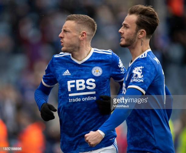 Jamie Vardy of Leicester City celebrates scoring with team mate James Maddison during the Premier League match between Leicester City and Tottenham...