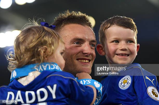 Jamie Vardy of Leicester City celebrates season champions with his children after the Barclays Premier League match between Leicester City and...