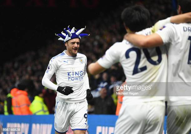 Jamie Vardy of Leicester City celebrates the opening goal scored by Riyad Mahrez during the Premier League match between Watford and Leicester City...