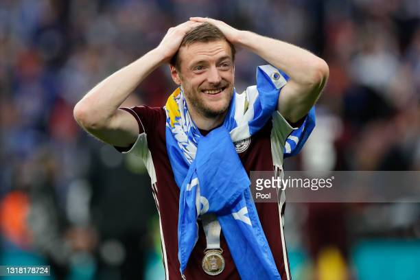 Jamie Vardy of Leicester City celebrates victory following The Emirates FA Cup Final match between Chelsea and Leicester City at Wembley Stadium on...