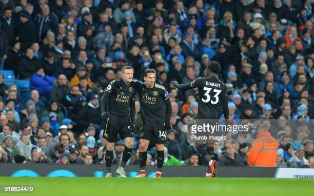 Jamie Vardy of Leicester City celebrates with Adrien Silva and Fousseni Diabate of Leicester City after scoring to make it 11 during the Premier...