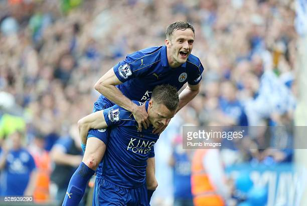 Jamie Vardy of Leicester City celebrates with Andy King of Leicester City after scoring to make it 30 during the Barclays Premier League match...