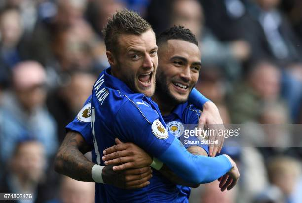 Jamie Vardy of Leicester City celebrates with Danny Simpson after scoring his sides first goal during the Premier League match between West Bromwich...