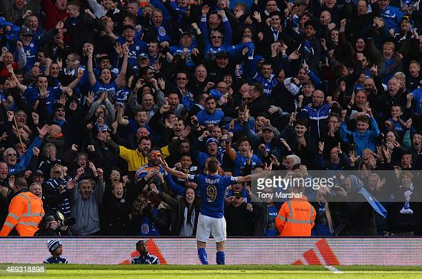 Jamie Vardy of Leicester City celebrates with fans during the Barclays Premier League match between West Bromwich Albion and Leicester City at The...