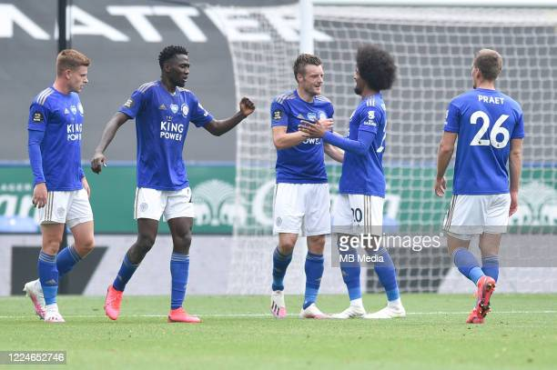 Jamie Vardy of Leicester City celebrates with Hamza Choudhury of Leicester City after scoring his sides second goal and his sides third during the...