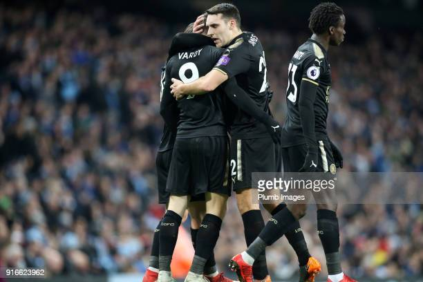 Jamie Vardy of Leicester City celebrates with Matty James of Leicester City after scoring to make it 11 during the Premier League match between...