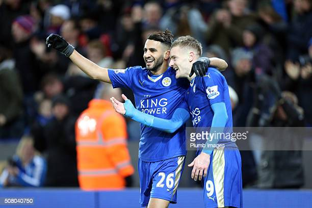 Jamie Vardy of Leicester City celebrates with Riyad Mahrez of Leicester City after scoring to make it 20 during the Barclays Premier League match...