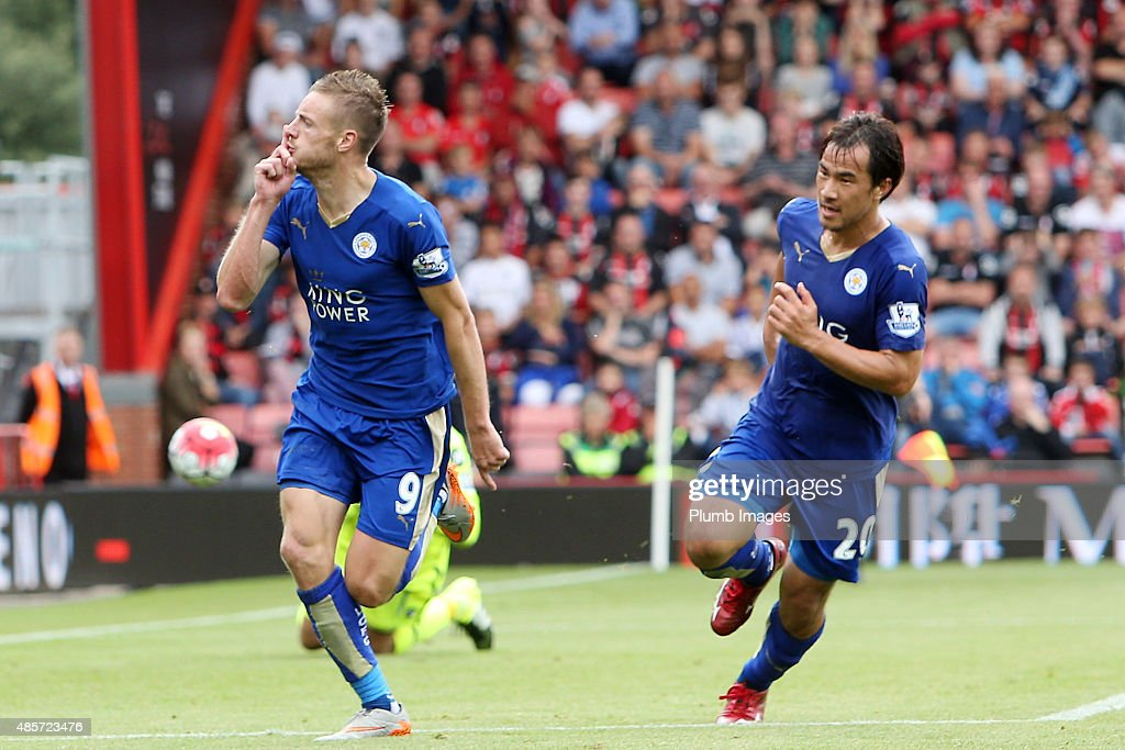 Jamie Vardy of Leicester City celebrates with Shinji Okazaki of Leicester City after scoring from the penalty spot to make it 1-1 during the Premier League match between Bournemouth and Leicester City at the Vitality Stadium on August 29, 2015 in Bournemouth, United Kingdom.