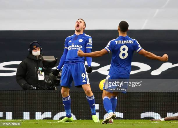 Jamie Vardy of Leicester City celebrates with team mate Youri Tielemans after their sides second goal, an own goal scored by Toby Alderweireld of...