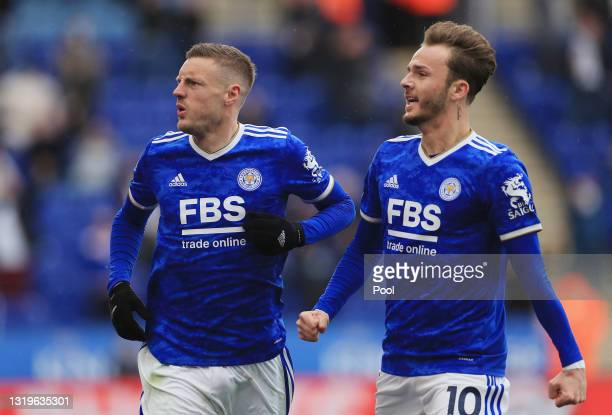 Jamie Vardy of Leicester City celebrates with teammate James Maddison after scoring his team's second goal during the Premier League match between...