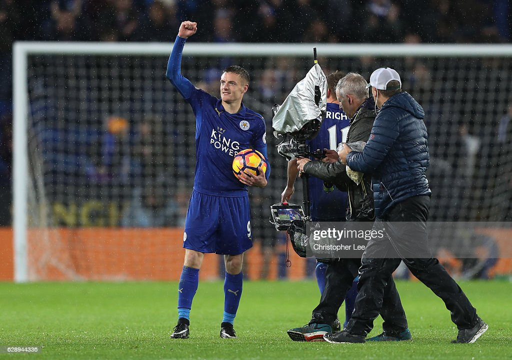 Jamie Vardy of Leicester City celebrates with the match ball after the final whistle during the Premier League match between Leicester City and Manchester City at the King Power Stadium on December 10, 2016 in Leicester, England.