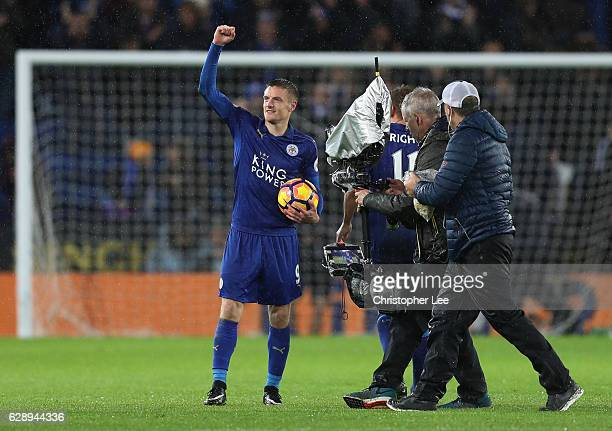 Jamie Vardy of Leicester City celebrates with the match ball after the final whistle during the Premier League match between Leicester City and...