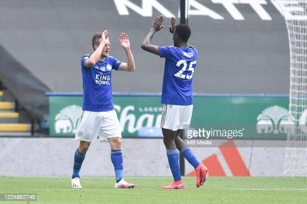 Jamie Vardy of Leicester City celebrates with Wilfred Ndidi of Leicester City after scoring his sides second goal and his sides third during the...