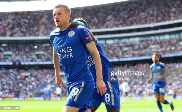 Jamie Vardy of Leicester City celebrtes after scoring his side third goal during the Premier League match between Tottenham Hotspur and Leicester...