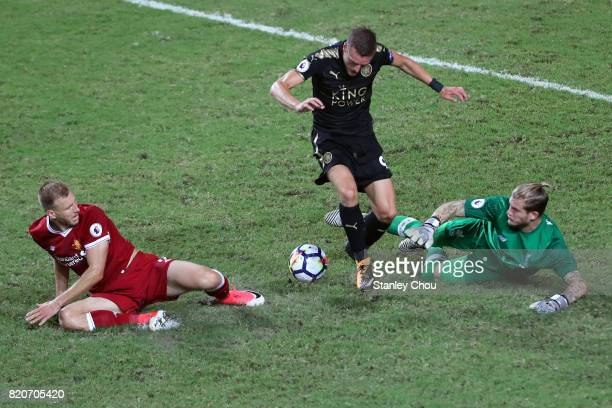 Jamie Vardy of Leicester City challenges Loris Karius of Liverpool during the Premier League Asia Trophy match between Liverpool FC and Leicester...