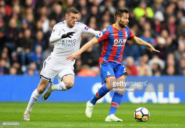 Jamie Vardy of Leicester City chases down Yohan Cabaye of Crystal Palace during the Premier League match between Crystal Palace and Leicester City at...