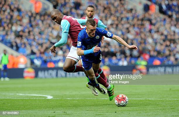 Jamie Vardy of Leicester City clashes with Angelo Ogbonna of West Ham which resulted in the Leicester player being sent off for diving during the...
