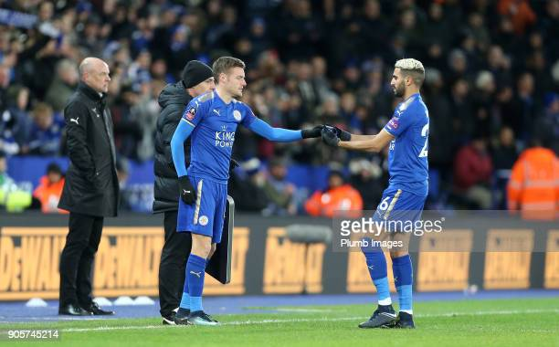 Jamie Vardy of Leicester City comes off the bench to face his old club during the FA Cup Third round replay between Leicester City and Fleetwood Town...