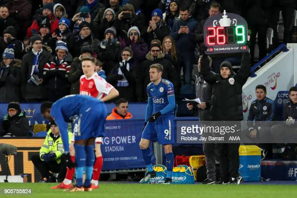 Jamie Vardy of Leicester City comes on as a substitute during The Emirates FA Cup Third Round Replay match between Leicester City and Fleetwood Town...