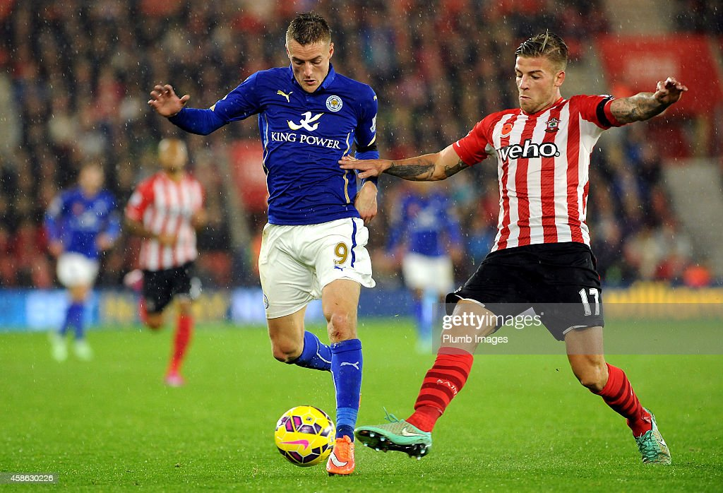 Jamie Vardy of Leicester City competes with Toby Alderweireld of Southampton during the Barclays Premier League match between Southampton and Leicester City at St Mary's Stadium on November 8, 2014 in Southampton, England.